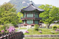 Korean Palace, Gyeongbokgung Pavilion, Seoul, South Korea. Korean Palace Pavilion, at Gyeongbokgung palace Seoul, South Korea. Beautiful trees and flowers stock images