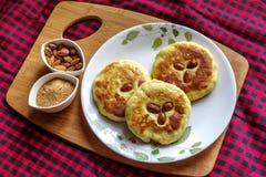 Korean pancake, and  popular street food of Korea. Hotteok Royalty Free Stock Photography