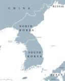 Korean peninsula countries political map Stock Photos