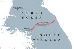 Korean Peninsula, Demilitarized Zone Area, gray political map. Korean Peninsula, Demilitarized Zone Area, political map. North and South Korea with red Military vector illustration