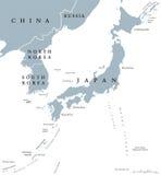 Korean peninsula and Japan countries political map Stock Photography