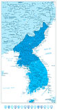 Korean Peninsula Map in colors of blue and blue map pointers Stock Photo