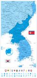 Korean Peninsula Map in colors of blue and flat navigation icon Royalty Free Stock Photography