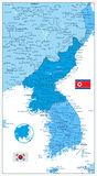 Korean Peninsula Map in colors of blue  on white, North Royalty Free Stock Image