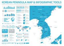 Korean Peninsula Map - Info Graphic Vector Illustration Stock Images
