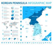 Korean Peninsula Map - Info Graphic Vector Illustration Royalty Free Stock Photo