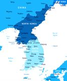 Korean Peninsula Map - Vector Illustration Stock Photography