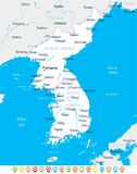 Korean Peninsula Map - Vector Illustration Royalty Free Stock Image