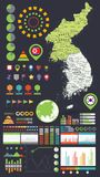Korean Peninsula map and Infographics design elements Stock Image