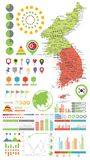 Korean Peninsula map and Infographics design elements. On white Stock Images