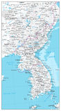 Korean Peninsula Map Physical Map Royalty Free Stock Image