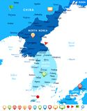Korean Peninsula Map - Vector Illustration Royalty Free Stock Images