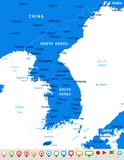 Korean Peninsula Map - Vector Illustration Royalty Free Stock Photos