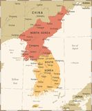 Korean Peninsula Map - Vintage Vector Illustration Stock Photo