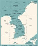 Korean Peninsula Map - Vintage Vector Illustration Royalty Free Stock Image