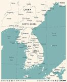Korean Peninsula Map - Vintage Vector Illustration Royalty Free Stock Photography