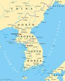 Korean Peninsula Political Map Stock Images