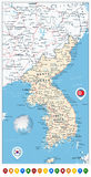 Korean Peninsula Road Map and Map Pointers, North And South Kore Royalty Free Stock Image