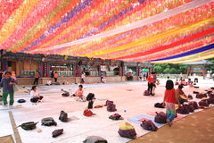Korean people coming to the temple for the celebration of buddha birthday Royalty Free Stock Photos