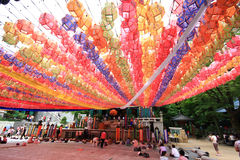 Korean people coming to the temple for the celebration of buddha birthday Royalty Free Stock Image