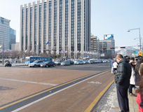 Korean people cross street Royalty Free Stock Image