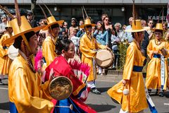 Korean people in traditional costumes on Karneval der Kulturen Carnival of Cultures in Berlin. Berlin, Germany - june 2019: Korean people in traditional costumes royalty free stock photography