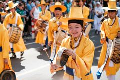 Korean people in traditional costumes performing at Karneval der Kulturen Carnival of Cultures in Berlin. Berlin, Germany - june 2019: Korean people in stock photography