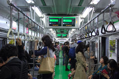 Korean people use the subway to travel to various locations. Stock Photo