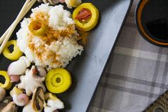 Korean pickles with boiled rice Royalty Free Stock Photos