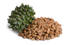 Korean pine cone and nuts Royalty Free Stock Photo