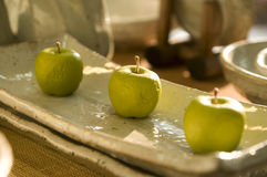 Korean Pottery - Apples Stock Photography