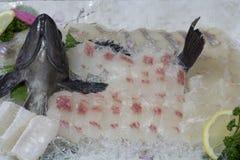 Korean raw fish ( sashimi )on white noodle. Fresh Korean Raw Fish  (Sashimi Stock Image
