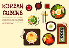 Korean refreshing summer dishes flat icon Stock Photography