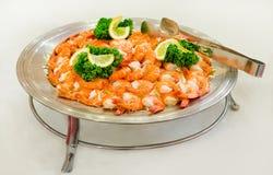Korean restaurant set of traditional food - fresh shrimp Stock Image