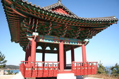 Korean Resting Pavillion. A resting pavillion in Uljin, South Korea.  It overlooks the ocean and was used by Buddhist monks who needed a place to rest while Stock Photo