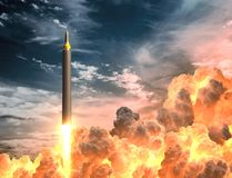 Korean Rocket Takes Off In The Clouds Of Fire. 3D Illustration Stock Photo