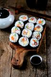 Korean roll Gimbapkimbob with ham, sausage, carrots, omelet, crab meat and rice. Stock Images
