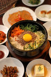 Korean salad. Koran salad with full menu on the table stock photo