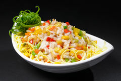 Korean salad with corn and pepper royalty free stock images