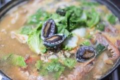 Korean Seafood Hotpot Stock Photo