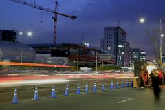 Korean seoul street after sunset Stock Photos