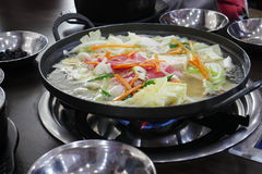 Korean Shabu Shabu. Korean Shabu Shabu in the Restaurant / South Korea / 30 March 2016 Stock Images