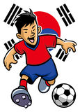 Korean soccer player with flag background Stock Photos