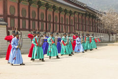 Korean soldier costume vintage practice around Gyeongbokgung pal Stock Photo