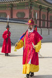 Korean soldier costume vintage practice around Gyeongbokgung pal Royalty Free Stock Images