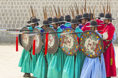 Korean soldier costume vintage practice around Gyeongbokgung pal Royalty Free Stock Photo