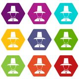 Korean soldier in uniform icon set color hexahedron Royalty Free Stock Images