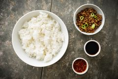 Korean Soy Beef Bowl royalty free stock images