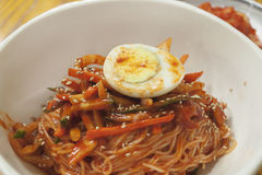 Korean spicy cold noodles Stock Images