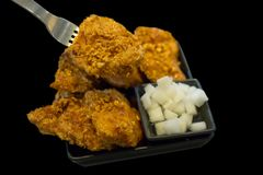 Korean spicy fried chicken food, focus selective royalty free stock photography